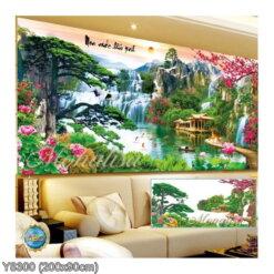 Y8300 Tranh đính đá Lưu thủy sinh tài kích thước lớn 200x90 cm