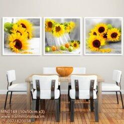 Bộ tranh thêu chữ thập hoa hướng dương đẹp kích thước nhỏ treo phòng ăn MN0148