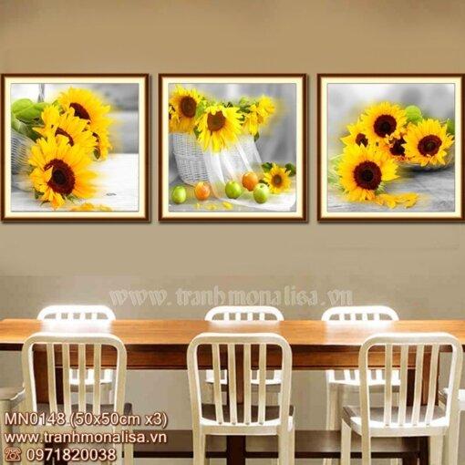 Bộ tranh thêu chữ thập hoa hướng dương đẹp kích thước nhỏ treo phòng bếp MN0148