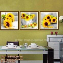 Bộ tranh thêu chữ thập hoa hướng dương kích thước nhỏ treo phòng khách MN0148