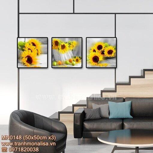 Tranh bộ 3 bức hoa hướng dương treo cầu thang MN0148