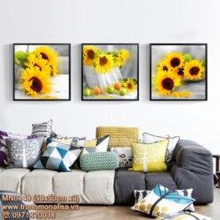 Tranh bộ hoa hướng dương đẹp treo phòng khách MN0148