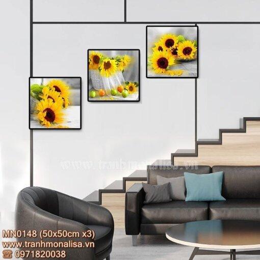 Tranh thêu bộ 3 bức hoa hướng dương treo cầu thang MN0148
