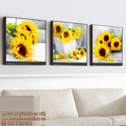 Tranh thêu hoa hướng dương đẹp treo phòng khách MN0148