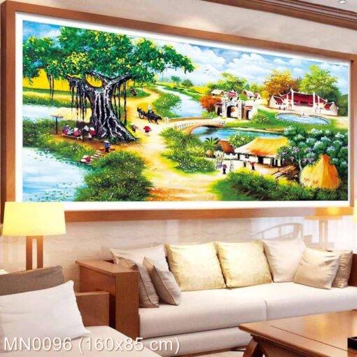 MN0096 Tranh thêu chữ thập Làng quê Việt Nam kích thước lớn 160x85 cm