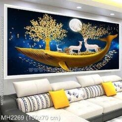 M-H2269 Tranh thêu chữ thập Hươu Thần Tài màu vàng trên thuyền kích thước lơn 150x70 cm