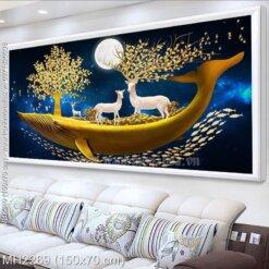 Tranh thêu chữ thập Tuần lộc vàng kích thước trung bình lớn 150x70 cm (MH2269)