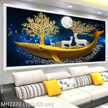 M-H2270 Tranh thêu chữ thập Hươu Thần Tài màu vàng trên thuyền kích thước lơn 120x55 cm