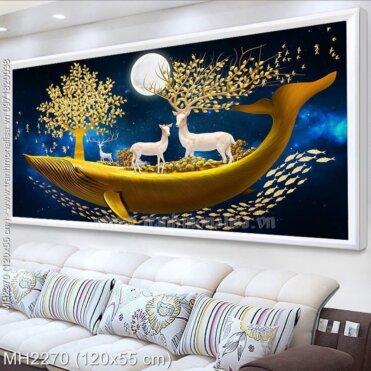Tranh thêu chữ thập Tuần lộc vàng kích thước trung bình 120x55 cm (MH2270)
