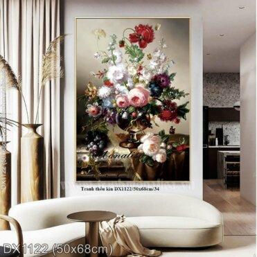 Tranh thêu Hoa Hồng Nhung (DX1122)