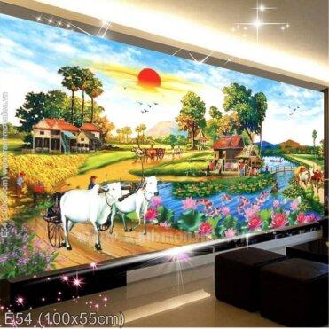 Tranh thêu Làng quê mùa gặt (E54)