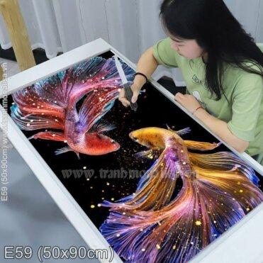 Tranh thêu Vũ điệu cá Betta (E59)