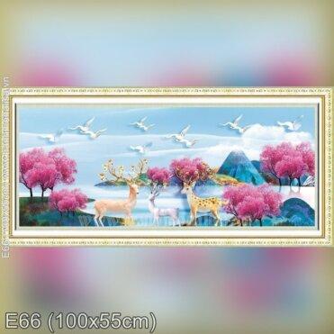 Tranh thêu Hươu Tài Lộc (E66)