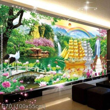 Tranh thêu Thuận buồm xuôi gió (E70)