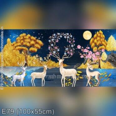 Tranh thêu Hươu Lộc Phát (E79)