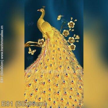 Tranh thêu Khổng Tước Hoàng Gia (E81)