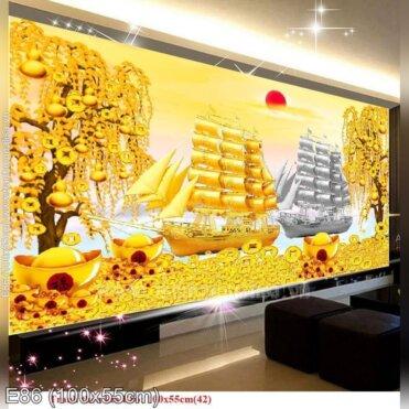 Tranh thêu Thuận buồm xuôi gió trên con đường tài lộc (E86)