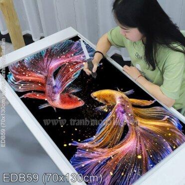 Tranh thêu Vũ điệu cá Betta (EDB59)