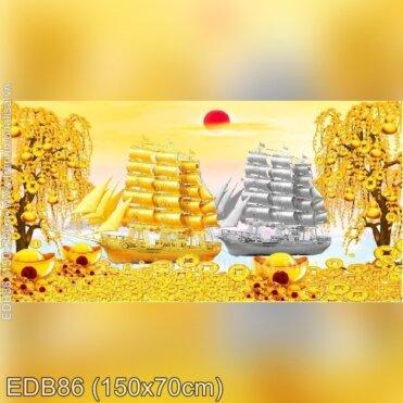 Tranh thêu Thuận buồm xuôi gió trên con đường tài lộc (EDB86)