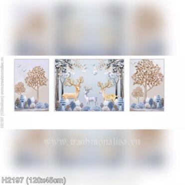 Tranh thêu Hươu nai tuần lộc phát tài (3 bức) (H2197)