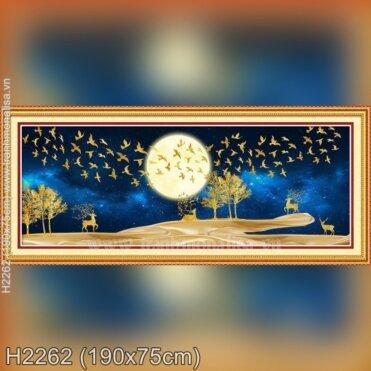 Tranh thêu Hươu tài lộc ngắm trăng (H2262)