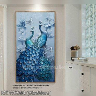 Tranh thêu Cặp đôi chim Công (MDW0594)