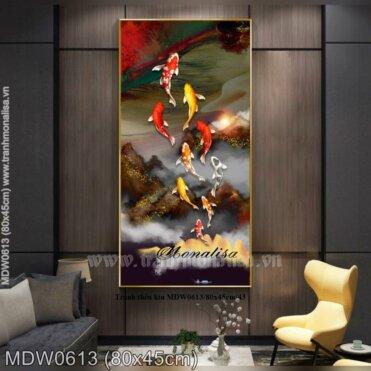 Tranh thêu Cửu ngư vượt vũ môn (MDW0613)