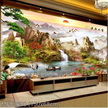 Tranh thêu Lưu thủy sinh tài (MFJ0698)