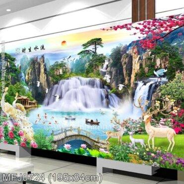 Tranh thêu Lưu thủy sinh tài (MFJ0724)
