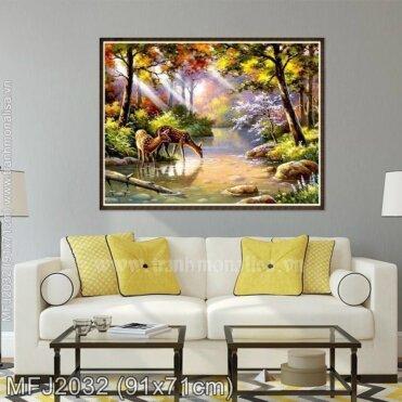 Tranh thêu chữ thập Cảnh đẹp trong rừng (Hươu sao) kích thước nhỏ ✅ MFJ2032