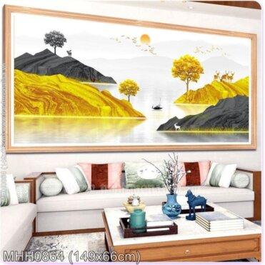 Tranh thêu chữ thập Hươu Tài lộc trên núi vàng (Rừng vàng biển bạc) kích thước trung bình ✅ MHH0864