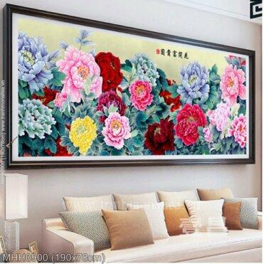 Tranh thêu chữ thập Hoa khai phú quý (Hoa Mẫu Đơn nhiều màu) kích thước lớn ✅ MHH0900