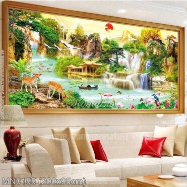 Tranh thêu Lưu thủy sinh tài (MN0155)
