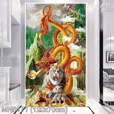Tranh thêu Rồng cuộn Hổ ngồi (MN0171)