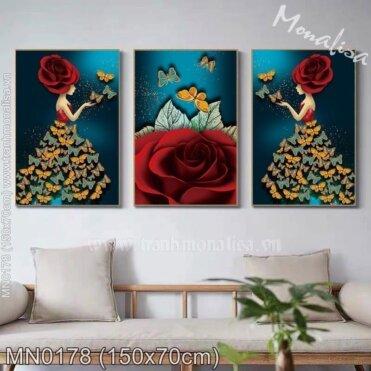 Tranh thêu Thiếu nữ hoa hồng (3 bức) (MN0178)