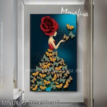 Tranh thêu Thiếu nữ hoa hồng (MN0179)