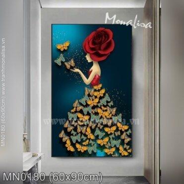 Tranh thêu Thiếu nữ hoa hồng (MN0180)