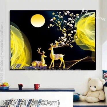 Tranh thêu (Hươu) Tuần lộc vàng ngắm trăng (MN0181)