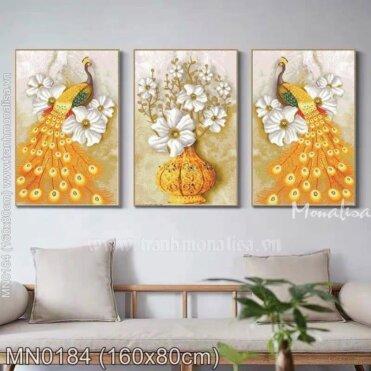 Tranh thêu Đôi công vàng và bình hoa (3 bức) (MN0184)