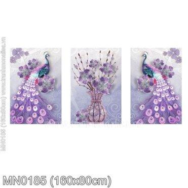 Tranh thêu Đôi công tím và bình hoa (3 bức) (MN0185)
