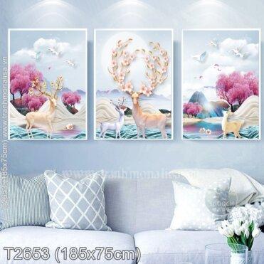 Tranh thêu Hươu Tài Lộc (3 bức) (T2653)