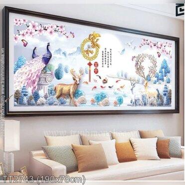 Tranh thêu Hươu và cảnh đẹp trong rừng (TT2743)