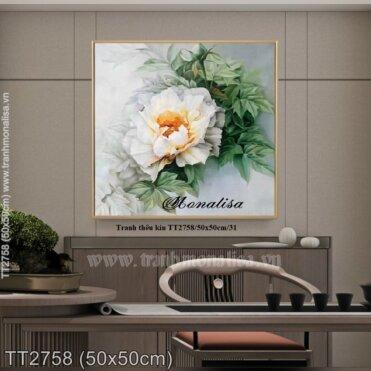 Tranh thêu Hoa Hồng trắng (TT2758)
