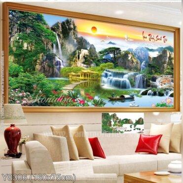 Tranh đính đá Lưu thủy sinh tài (Bồng lai tiên cảnh) kích thước lớn ✅ Y8306