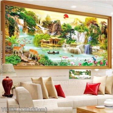 Tranh đính đá Lưu thủy sinh tài (Y8309)