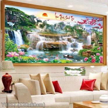 Tranh đính đá Lưu thủy sinh tài (Y8317)