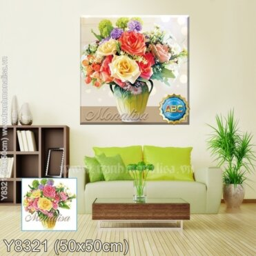 Tranh đính đá Bình hoa hồng (Y8321)