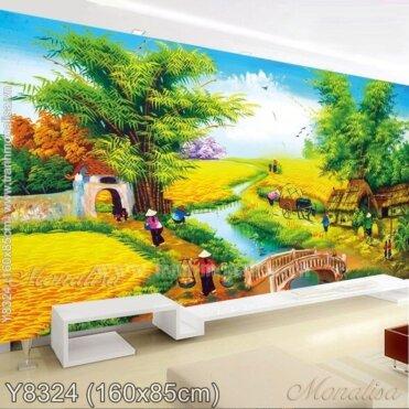 Tranh đính đá Làng quê mùa gặt (Y8324)