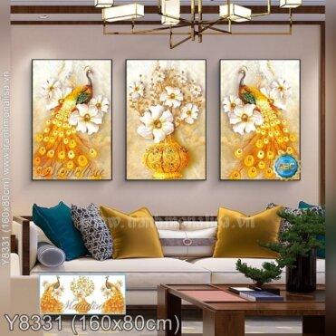 Tranh đính đá Bộ công vàng (3 bức) (Y8331)