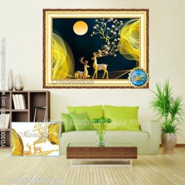 Tranh đính đá Hươu vàng (Tuần Lộc) ngắm trăng (Dệt mộng vàng) kích thước nhỏ ✅ YD3005